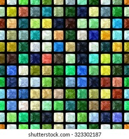 full color regular mosaic seamless pattern texture background on black