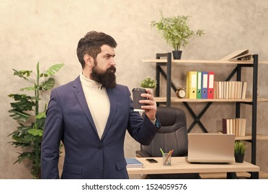 full concentration. Businessman in formal outfit. concentration at work. Confident man concentrated at work. Boss workplace. Coffee break. Bearded man in business office. total concentration. Energy.