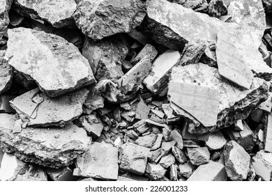 Full construction waste debris bags, garbage bricks, pile of rubble and material from demolished house