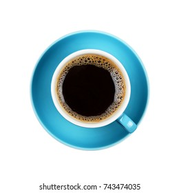 Full cup of black Americano or instant coffee on blue saucer isolated on white background, close up, elevated top view