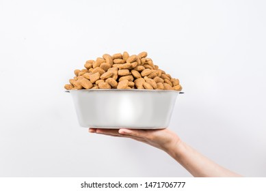 Full Cup of dry pet food in female hand isolated on white background. Food for a cat or a dog. The concept of proper nutrition, plenty of food, the harm of overeating, health hazards. Copy space