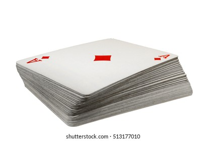 Full deck of playing cards with ace of diamonds on top, isolated on white background