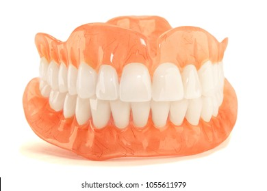 Full denture dentures close-up. Orthopedic dentistry with the use of modern technologies to restore teeth loss. The concept of aesthetic dentistry