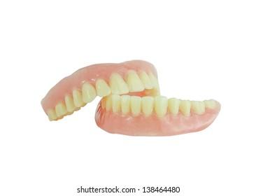 Full denture isolate on white background