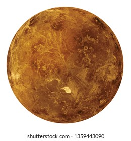 Full disk of Venus globe planet from space isolated on white background. Elements of this image furnished by NASA.