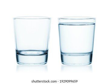 Full and empty glass of water isolated on white background. Conceptual photography.