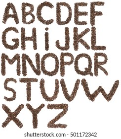 full English alphabet  made of cedar  nuts  on white
