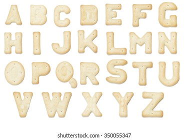 full English alphabet made of cracker cookie
