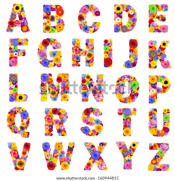 Full Floral Alphabet Isolated On White Stock Photo  Edit