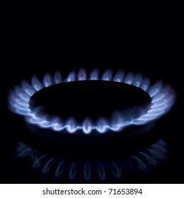 Full focus of Gas burner isolated on black background