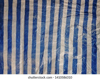 Full Frame Background of Blue and White Vertical Striped Canvas Pattern