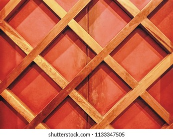 Full Frame Background of Wall Decorated with Wooden Bars