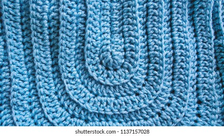Full Frame Blue Knitted Cloth Texture Background