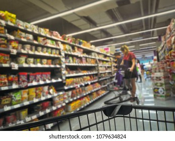Full Frame Blurred Background of People Shopping At Supermarket
