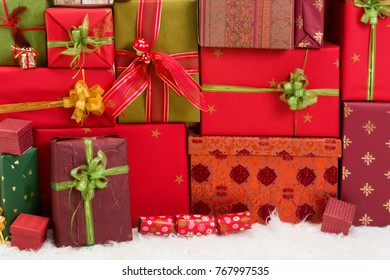 Full frame of christmas presents, can be used as a backdrop