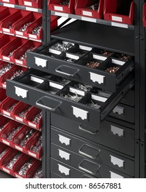 full frame detail of a tool cabinet with open drawers