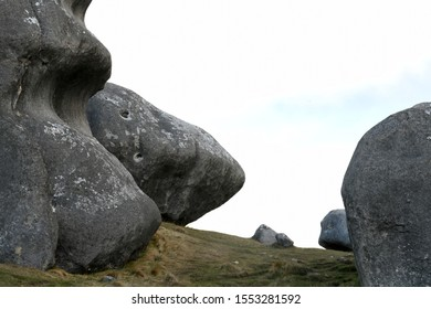 Full frame image of limestone rocks at Castle Hill in the South Island of New Zealand