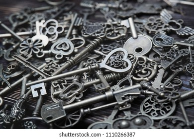 Full frame photo of the various antique keys. Close-up