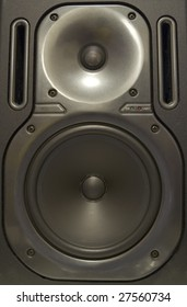 Full frame photograph of an audio speaker.