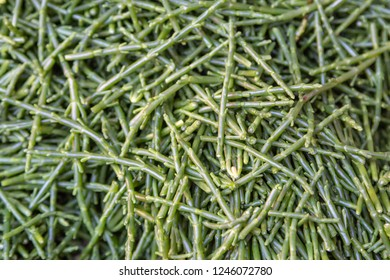 A full frame photograph looking down on a pile of samphire, for sale on a market stall