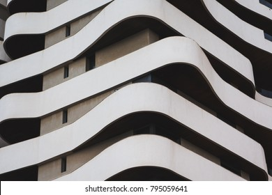 full frame shot of architectural curved shapes of a building in Casablanca - Morocco