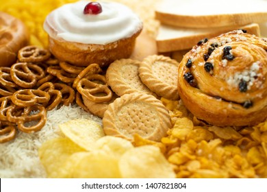 Full Frame Shot Of Foods Containing Unhealthy Or Bad Carbohydrates