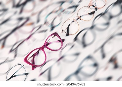 full frame shot of glasses in store - with motion blur effect