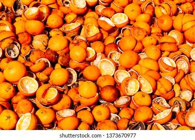 Full frame shot of orange peels - Cirali, Antalya Province, Turkey, Asia