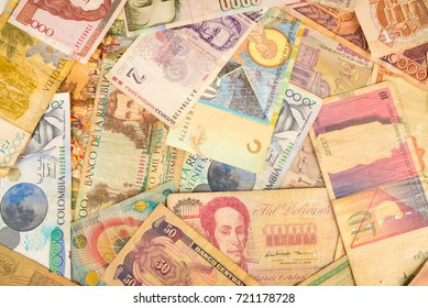 Full frame take of an assortment of all types of international banknotes