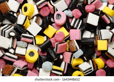 Full frame view of assorted English liquorice candy.
