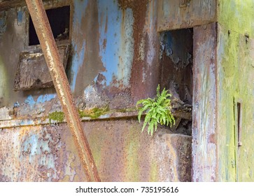 full frame weathered colorful rusty industrial detail