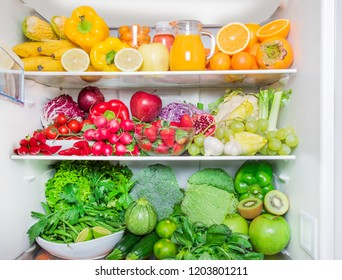full fridge with vegetables and fruit