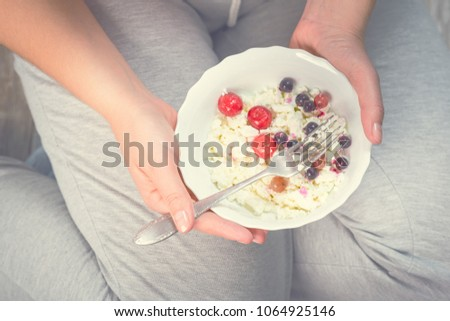 Prime Full Girl Holding Plate Cottage Cheese Stock Photo Edit Now Download Free Architecture Designs Rallybritishbridgeorg