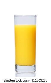 Full glass of fresh orange juice on white background