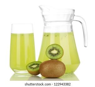 Full glass and jug of kiwi juice and kiwi isolated on white
