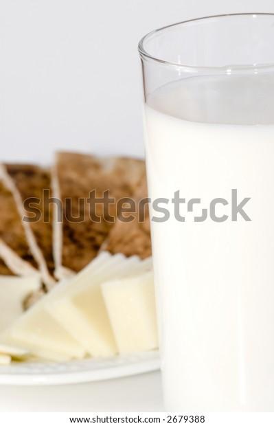 Full glass of milk; breakfast