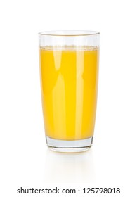 Full glass of orange juice isolated on white background