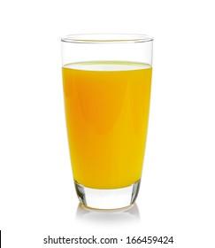 Full glass of orange juice isolated on white background