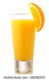 Full glass of orange juice on white background
