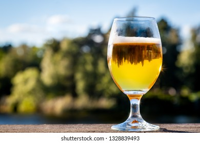 A full glass of tasty golden beer with reflections in the glass against outdoor summer nature background.