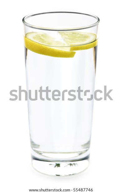Full glass of water with lemon isolated on white background