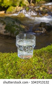 Full Glass with water on natural green moss background