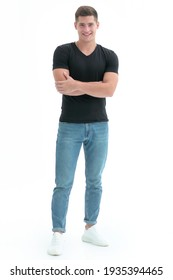 in full growth. casual guy in black t-shirt