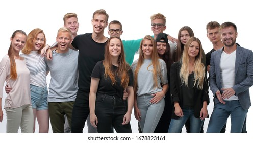 in full growth. a group of confident young people