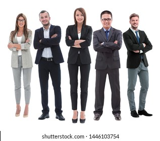 in full growth.boss and his business team standing together