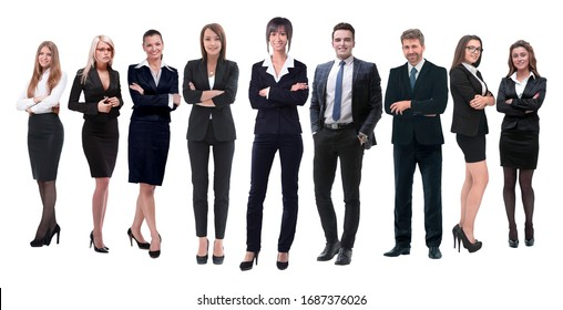 in full growth.professional business team isolated on white