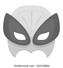 Full head mask icon in monochrome style isolated on white background. Superhero's mask symbol stock bitmap illustration.