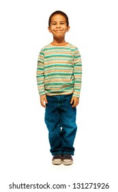 Full height portrait of cute black boy with smile on face standing isolated on white