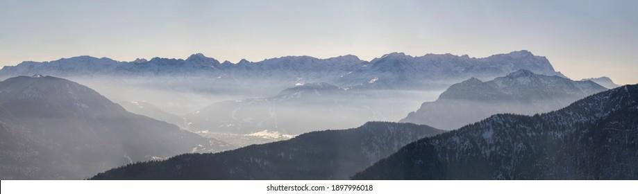 Full high res panorama of German Alps with Wank, Alpspitze, Zugspitze and Garmisch Partenkirchen