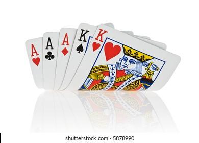 Full House Aces full of Kings on white background